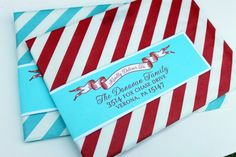 Holiday Wrap Around Address Labels - Return Address - DIY Printable - For Christmas Xmas New Years Eve Holiday Greeting Cards. $18.00, via Etsy.