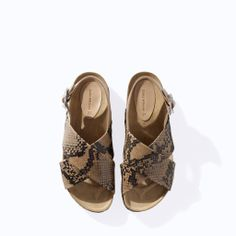ZARA - WOMAN - PRINTED LEATHER CROSSOVER SANDAL