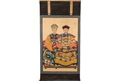 """Vintage Hand-painted  Asian Canvas Scroll inspired by early 20th C. Asian paintings (39""""Wx97""""H) $750"""