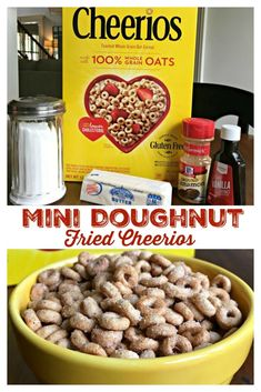 """Today I am sharing a sweet new twist on an old school classic snack, Mini Doughnut Fried Cheerios (aka, Mini Doughnut Hot Buttered Cheerios)! MINI DOUGHNUT FRIED CHEERIOS - Cheerios """"fried"""" in butter with a hint Cheerios Recipes, Snack Mix Recipes, Yummy Snacks, Delicious Desserts, Snack Mixes, Kid Recipes, Cereal Recipes, Sweets Recipes, Dinner Recipes"""