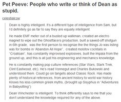 I found this, and this person PERFECTLY articulated how I feel about this. #DeanWinchester #Supernatural