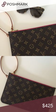 Monogram & Fuchsia LV Neverful GM Pouch Beautiful monogram pouch with fuchsia lining. This it the pouch that comes with the GM neverful. Brand new! Never worn! Made in France (2016). Date code is: FL2146 Louis Vuitton Bags Clutches & Wristlets