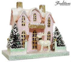 """Cody Foster Reproduction 84  PINK HOUSE WITH DEER  Paper Pulp, Bottle Brush, Mica 10x9.25"""""""