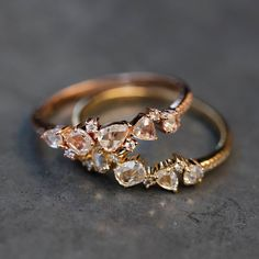 14kt gold rose cut diamond cluster ring