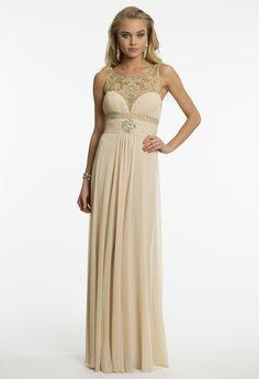 Mesh Beaded Neck Prom Dress by Camille La Vie