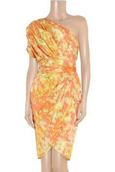 One-shoulder printed taffeta dress by Lela Rose