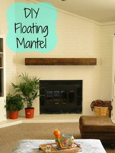 DIY floating coat - frazzled JOY - When revising our family room . - DIY floating coat – frazzled JOY – We updated our fireplace cladding when we revised our family - Floating Fireplace Mantel, Diy Mantel, Wooden Fireplace, Home Fireplace, Fireplace Remodel, Fireplace Surrounds, Fireplace Design, Fireplace Mantels, Fireplace Ideas