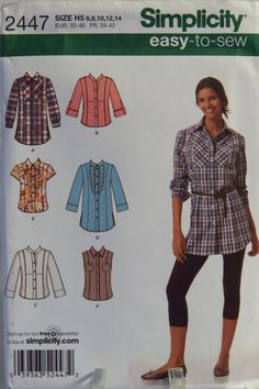 Simplicity 2447 Misses' Shirt in Two Lengths with Front, Collar and Sleeve Variations