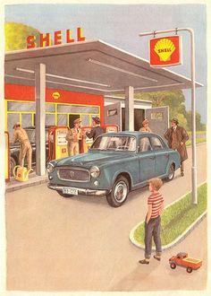 Peugeot 403 at Shell. Peugeot 403, Psa Peugeot Citroen, Vintage Advertisements, Vintage Ads, Vintage Posters, Classic Motors, Classic Cars, Shell Oil Company, Shell Gas Station