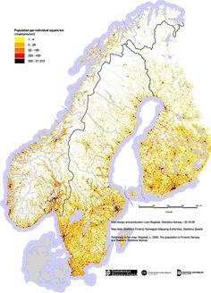 Population density of Norway, Finland and Sweden...