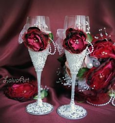 Wedding Champagne Flutes Burgundy Vintage Berry by LaivaArt