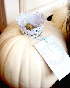 Cinderella Party decor, white pumpkin! Robert Gordon Butterfly cupcake holders.