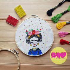 DIY Beginners Starter Embroidery Kit: Frida Kahlo | Embroidery Kit with Pattern | Embroidery Pattern, Modern Embroidery Kit, Embroidery Hoop Brush Embroidery, Embroidery Needles, Modern Embroidery, Beaded Embroidery, Embroidery Patterns, Printing On Fabric, Needlework, Hoop, Etsy Shop