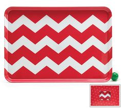 Serve the holiday Snowflake with peppermint cookies we just pinned on this red and white chevron tray from #burtonandburton! #christmas #chevron