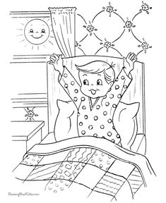 Free printable Christmas coloring pages - Christmas Morning! Christmas Coloring Sheets, Printable Christmas Coloring Pages, Free Christmas Printables, Free Printable Coloring Pages, Zoo Animal Coloring Pages, Easy Coloring Pages, Boy Coloring, Coloring Pages For Kids, Simple Car Drawing