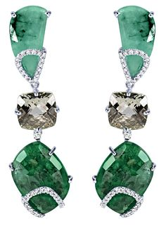 Rose-cut emerald and faceted prasiolite earrings with diamonds by Arya Esha.  Part of a Fall Fashion Forecast by JCK News.