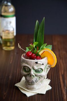 Perfect glass for a Zombie Cocktail: a delicious yet super potent mixed drink. It's often said that if you consume multiple servings, you're guaranteed to turn into a zombie. Rum Cocktails, Cocktail And Mocktail, Tiki Cocktail, Cocktail Recipes, Bourbon Drinks, Drink Bar, Bar Drinks, Beverages, Zombie Drink