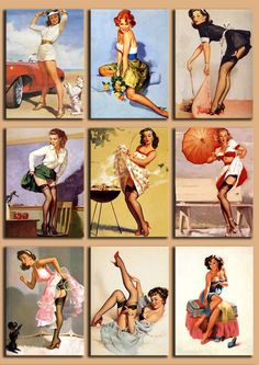 Digital Collage Sheet - Pinup Girls from the 50's - PNG and JPG files - Vintage illustrations - 2,5 x 3,5 inch