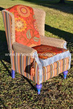 Custom upholstered wingback chair honeysuckle design by for Furniture upholstery spokane