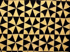 SPECTACULAR Antique Vintage  WINDING WAYS  Quilt Black & Yellow Solid Colors, eBay, akjrust