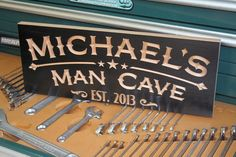 Garage Sign: Carved Wooden Signs Business Name Sign Fathers Day Gift Man Cave Sign Decor Garage Sign Custom Signs 9x23 MC