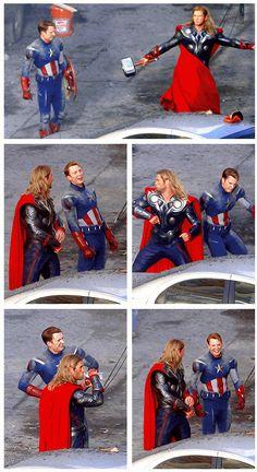 Marvel's The Avengers, Thor & Captain America http://pinterest.com/yankeelisa/marvel-s-the-avengers/