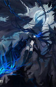 Insane BRS by koloromuj on DeviantArt Black Rock Shooter, Hatsune Miku, Tekken Cosplay, Beast, Space Illustration, Demon Girl, Blue Flames, Sword Art Online, Mobile Wallpaper