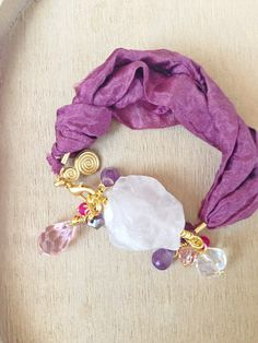Purple Silk Bracelet Pink Raw Quartz Bracelet Amethyst by KEYYISE, $34.00