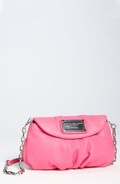 blossom pink MARC BY MARC JACOBS 'Classic Q - Karlie' Crossbody Flap Bag. I already have a Marc By Marc Jacobs cross body in red, so this is entirely not necessary. But LOVE that pink color, sigh.
