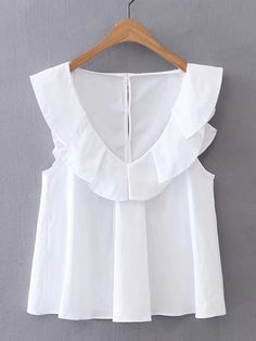 Shop V-Neckline Cap Sleeve Top online. SheIn offers V-Neckline Cap Sleeve Top & more to fit your fashionable needs. Diy Clothes, Fashion Clothes, Fashion Outfits, Fashion Trends, Women's Fashion, Fashion Styles, Blouse Styles, Blouse Designs, Diy Kleidung