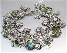 frog charm bracelet, enchanted frog jewelry, frog bracelet, green frog jewelry