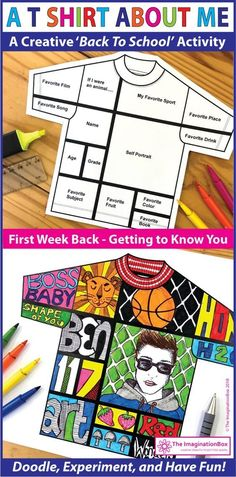 This 'All About Me T shirt' art and writing activity is an easy back to school art activity for the classroom. A great lesson plan for grade teachers to use as a fun first week back getting to know you resource, encouraging team building 1st Day Of School, Beginning Of The School Year, Art School, Middle School, School Ideas, High School, Back To School Teacher, School Art Projects, First Day Activities