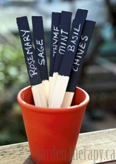 These plant markers made from wooden paint stir sticks and chalkboard paint make for simple but functional plant markers.