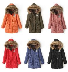 Women's Fleece lined Parka with Faux Fur trim hood  Condition: New without Tags  Style: Fashion parka Fastening: zip, button Material: cotton blend, faux fur Size: S,M,L,XL Color: red, orange, army green, blue, light purple, black, pink  5 Sizes are available, please check the last picut...