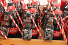 Jack and Coke favors for an adult birthday party! Jack Daniels Party, Jack Daniels Birthday, Jack Daniels Cola, 30th Party, Adult Birthday Party, 30th Birthday Parties, 60th Birthday, Birthday Presents, Birthday Celebration