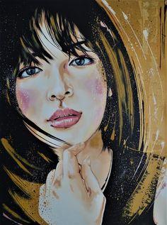 Sofia - Original Livien Rózen Art, Painting (60x80 cm) #portrait #painting #art #womenartist #faceportrait #popart #moody #contemporaryart #fineart #livienrozen #buyartonline Acrylic Painting Canvas, Canvas Art, Painting Art, Original Paintings, Original Art, Buy Art Online, Long Black Hair, Long Hair, Impressionism