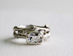 Engagement Ring Set, White Topaz, Silver Twig Rings, 8 x 6mm Rectangular White Topaz, Eternity Nature Rings by EveryBearJewel on Etsy https://www.etsy.com/listing/185037639/engagement-ring-set-white-topaz-silver