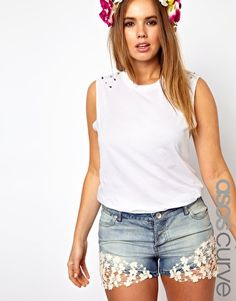 ASOS CURVE Top With Studded Shoulders In Acid Wash