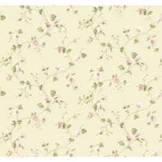 York Wallcoverings Waverly Cottage ER8108 Sweet Violets Trail Wallpaper, Cream / Peaches / Green / White - The Savvy Decorator