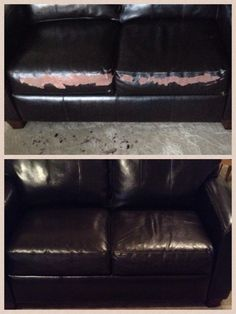 Quick Flaky Leather Couch Fix. Get A Chip Of The Peeling Leather, Go To  Lowes And Have The Computer Match It. Get A Sample Jar, Paint The Flaky  Spots, ...