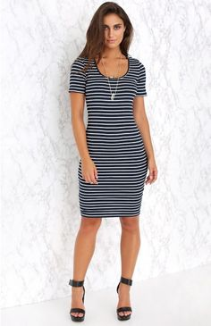 Breton Midi Dress | Beginning Boutique | This is a wardrobe staple that you will be wearing for years to come! Pair the Breton Midi Dress with black, slide sandals and a red lip for super stylish day-look, with a touch of Parisienne-chic!