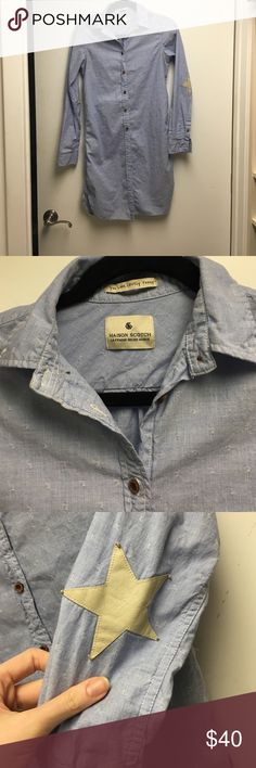 Maison scotch blue button down. Size small Maison Scotch long blue button down. Size small. In great condition still has extra buttons sewn into inside. Beautiful details. maison scotch  Tops Button Down Shirts