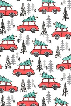 patterns Holiday Christmas Tree Car Woodland Fall on White by caja_design - Hand illustrated red cars with Christmas trees on fabric, wallpaper, and gift wrap. Adorable holiday pattern with pine trees and red cars. Wallpaper Natal, Of Wallpaper, Wallpaper Backgrounds, Fabric Wallpaper, Mobile Wallpaper, Christmas Phone Wallpaper, Holiday Wallpaper, Christmas Phone Backgrounds, Winter Backgrounds