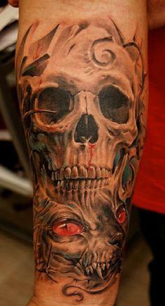 Skull Tattoos 46 - 80 Frightening and Meaningful Skull Tattoos   <3