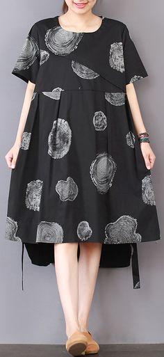 stylish black prints pure linen dresses linen clothing dresses casual low high design patchwork knee dresses