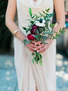 Bridesmaid Bouquet | Elegant and Clean | Ranunculus Flowers | Anemone Flowers | Marsala Colore | Romeo and Juliet Fake Wedding  | Downtown Wedding | River Room | Wilmington NC | DIY Weddings Magazine Feature | Anchored In Love Photography | Desi's Floral Design