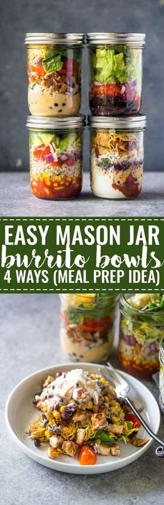 Shake up your lunch time routine with these healthy mason jar burrito bowls. They are packed with protein, whole grains and nutritional veggies that will help keep you full for hours. They are also very flavorful and easy to assemble.