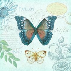 Art In Motion blue butterfly printable Decoupage Vintage, Decoupage Paper, Vintage Paper, Butterfly Clip Art, Vintage Butterfly, Blue Butterfly, Decoupage Printables, Beautiful Butterflies, Paper Background
