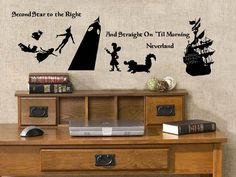 Peter Pan  Neverland silhouette decals bundle. $18.00, via Etsy.