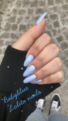 Babyblue acrylic nails|| Almond nails|| Lolita nails
